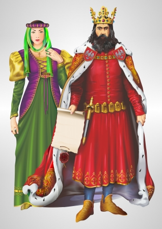 king and queen: King and Queen Detailed Illustration. King and Queen Isolated on Grey. Casimir III the Great and Aldona of Lithuania