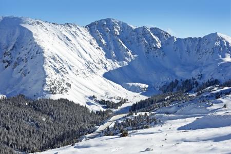 basin mountain: Snow Mountain Peaks. Arapahoe Basin, Colorado, United States. Winter Landscape