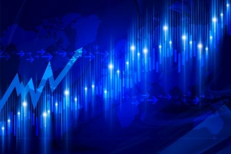 stock market chart: Stock Market Blue Graph. Abstract Stock Market Chart Illustration.