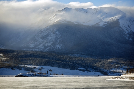 lake dillon: Dillon and Frisco Area in Colorado, United Stated. Colorado Winter Landscape.