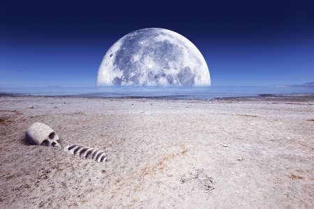 Deadly Planet Abstract Illustration with Large Moon Toxic Lake, Desert Landscape and Some Skull and Bones.