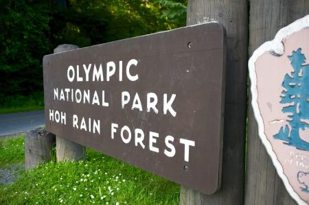 olympic: Olympic National Park - Hoh Rain Forest Wood Sign. Washington, United States.