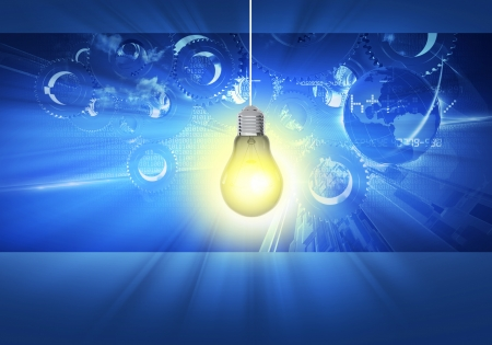 illustration cool: Bright Ideas Concept Illustration. Cool Blue Idea Graphic Background with Bright Bulb and Gears and Mechanical Elements in Background. Business Concept Stock Photo