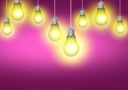 pinky: Business Idea Concept. Pink Background with Light Bulbs Illumination. Concept Background Stock Photo
