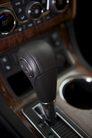 shifter: Modern Automatic Transmission Shifter Closeup. Car Interior.