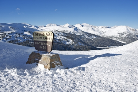 loveland: Loveland Pass Summit in Winter. Colorado, United States. Stock Photo