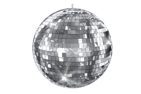ディスコ ボール白で隔離されます。エレガントな光沢のあるディスコ ボール 3 D イラスト。