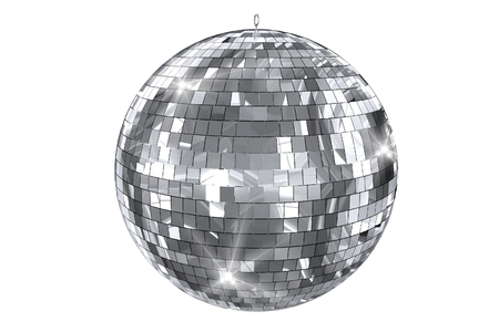 laser lights: Disco Ball Isolated on White. Elegant Shiny Disco Ball 3D Illustration.