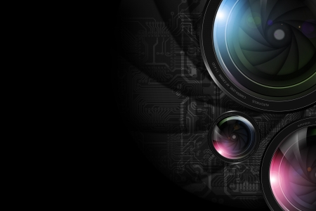 Black Photography Background with Professional Lenses.  Imagens