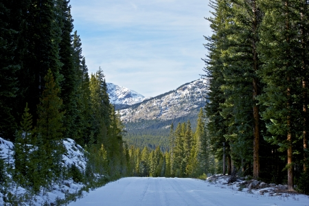 Destination Colorado. Snowy Winter Colorado Road in the Middle of Nowhere. Mountains Landscape Ahead. photo