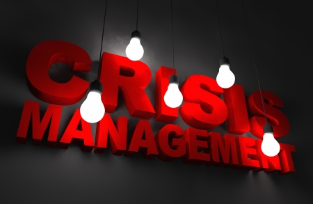 crisis management: Crisis Management Concept Illustration. Red Letters Illuminated by Hanging Bulbs. Stock Photo