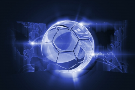 Soccer Concept Illustration with Glassy 3D Soccer Ball and World Map.
