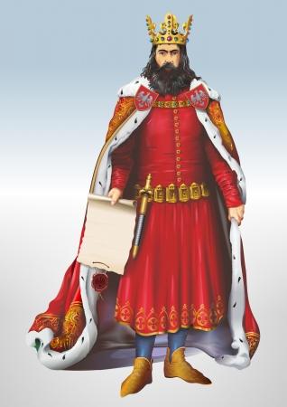 casimir: Casimir The Great Polish King Art Illustration.  Stock Photo