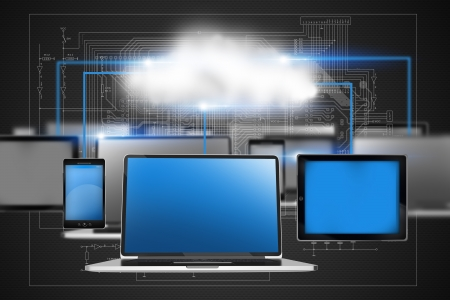 electronic devices: Cloud Technology Concept Illustration with Laptop Computers, Tablets and Smartphones in a Network. Communication Abstract Illustration Stock Photo