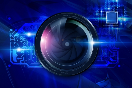 electronic board: Camera Lens and Circuit Board. Digital Photography Concept.