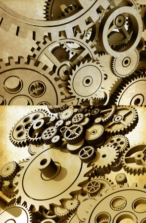 works: Gears Abstraction. Cog Wheels and Gears Grunge Theme.