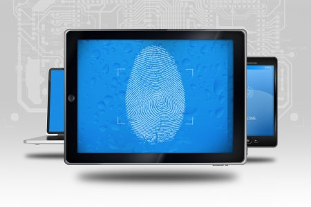 Device Identity Check. Tablet Computer with Fingerprint Screen Check. Identity Check Software. Stock Photo