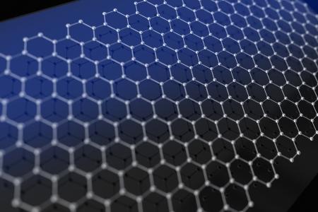 chemic: Graphen Illustration. 3D Render Model of Graphene Material Molecule Structure.