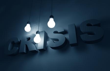 3D Crisis Concept Illustration. 3D Letters Illuminated by Bright Electric Bulbs. Foto de archivo