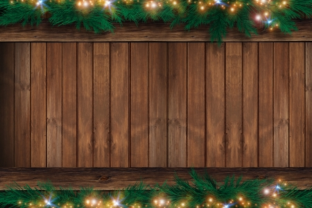 backdrop: Wood Christmas Backdrop. Wooden Wall with Christmas Ornaments on the Top and Bottom. Holiday Copy Space Design.