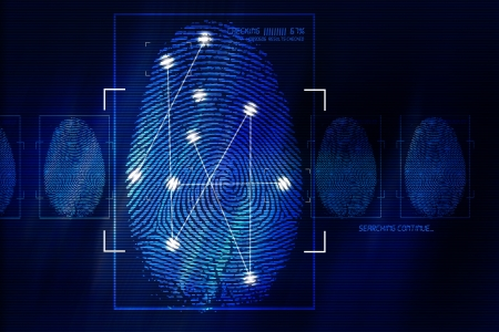 fingers: Fingerprint Scanning Technology Concept Illustration. Fingerprint Searching Software. Identity Check.
