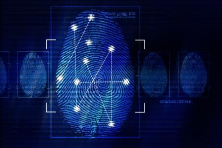 Vingerafdruk Scanning Technology Concept illustratie. Fingerprint Zoeken Software. Identiteit controleren. Stockfoto