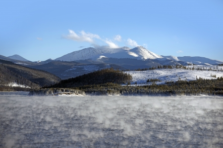lake dillon: Lake Water Vapor in Winter. Very Low Temperature  Water Vapor and Heat Exchanges. Colorado Landscape. Dillon Reservoir.