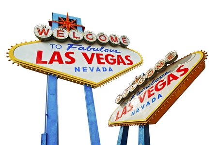 Las Vegas Signs Isolated on White. Famous Las Vegas Entrance Sign. Two Different Angles. photo