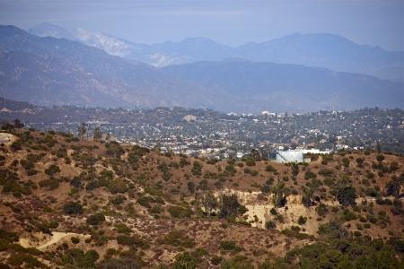 sequias: Paisaje de California y del área residencial. Área Metropolitana de Los Angeles North East. California, Estados Unidos. Foto de archivo