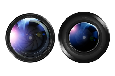 pro: Two Pro Camera Lenses Front View Isolated on White. Photography Lenses Illustration.