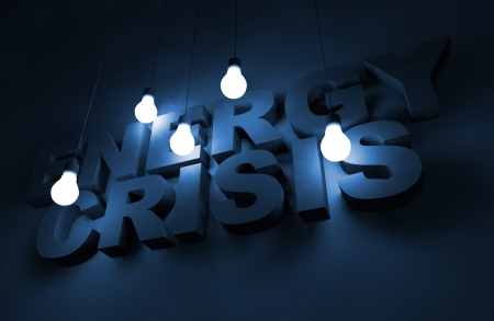 energy crisis: Energy Crisis Concept Illustration with Glowing Bulbs. Stock Photo