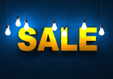 pricetag: Sale Concept with Bright Light Bulbs Illuminating Sale Advertising. Business Illustration, 3D Render