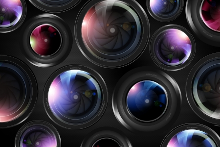 photography backdrop: Camera Lenses Background Illustration. Modern Professional Lenses Photography Backdrop Concept. Stock Photo