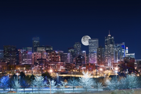 city park skyline: Denver Skyline West Side. Night in Colorado. Downtown Denver with Moon. United States.