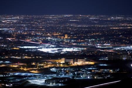 denver colorado: Denver Metro Area at Night. Urban Panorama Stock Photo