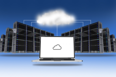 electronic board: Cloud Servers Technology Abstract Conceptual Illustration. Servers Racks and Laptop Computer Connected via Cloud.