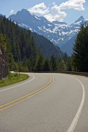 cascade range: Cascade Range Road. North Cascades National Park Road. Stock Photo