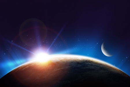 epic: Planet Earth Sunrise Concept Sun, Earth and Moon. Space Concept. Stock Photo