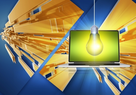 Abstract Computer Concept with Laptop Computer, Electric Bulb and Abstract Background.