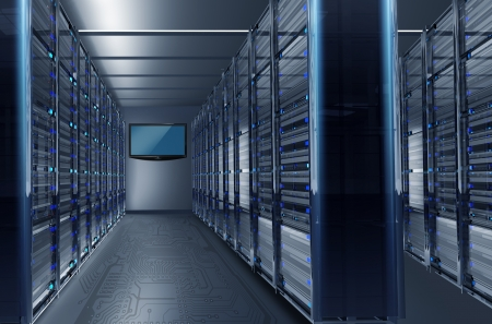 datacenter: Data Center Alley with Large Wall TV. Hosting Technology Concept Illustration. Stock Photo