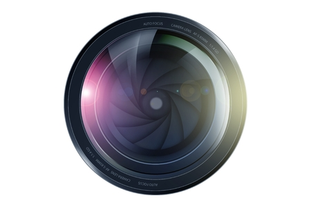 SLR Camera Lens Front View. Lens Illustration Isolated on White. Stock fotó