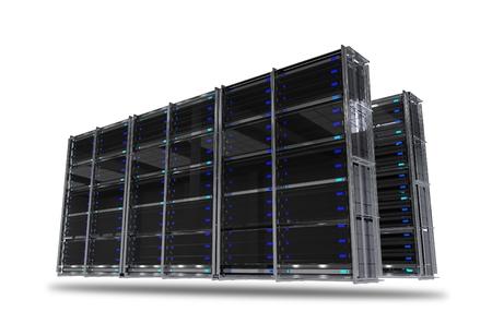 Servers Rack Isolated on White Background. 3D Render Illustration of Servers. Hosting Technology.