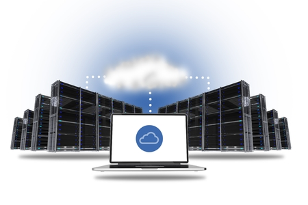 computer centers: Cloud Hosting Concept with Data Centers and Laptop Computer Connected Via Cloud. Stock Photo