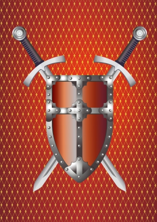 Shield and Swords on Abstract Reddish Background. Medieval Times Illustration illustration