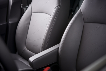 upholstery: Comfortable Car Seats. Grey Leather Upholstery. Vehicle Interior.