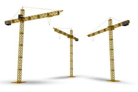 construction project: Construction Cranes Isolated on White. 3D Render Cranes Illustration. Stock Photo