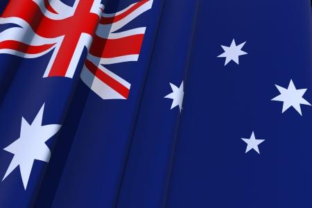 Australian Flag 3D Illustration. Australia Waving Flag Graphic.