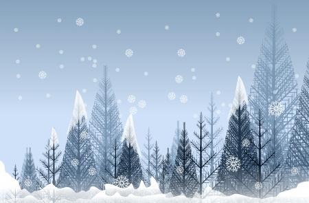 Mysterious Winter Forest Abstract Artistic Illustration. Seasonal Winter Forest Background. Reklamní fotografie