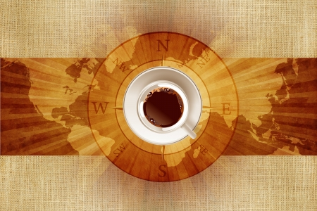 compass rose: World of Coffee Concept Illustration with World Map, Canvas and Coffee Cup on Compass Rose.