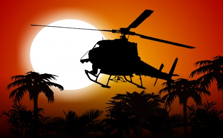 Helicopter In the Jungle Sunset Silhouette. Abstract Illustration.
